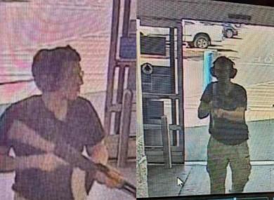 A surveillance stills show alleged gunman Patrick Crusius holding a rifle as he enters a Walmart store.