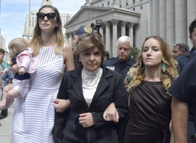 Alleged victim of Epstein Teala Davies, right, with lawyer Gloria Allred outside court.