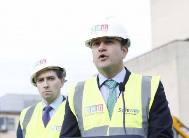 Health Minister Simon Harris and Taoiseach Leo Varadkar pictured at the site of the NCH in 2017.