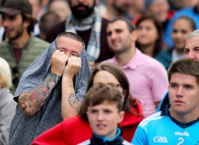 Tense fans at the end of today's clash.