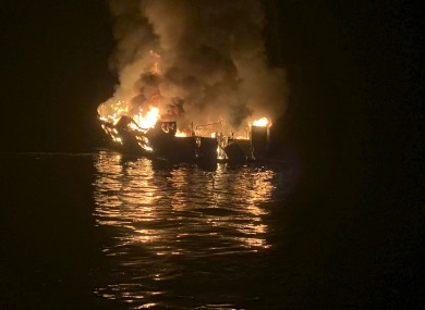 The dive boat engulfed in flames off the southern California coast
