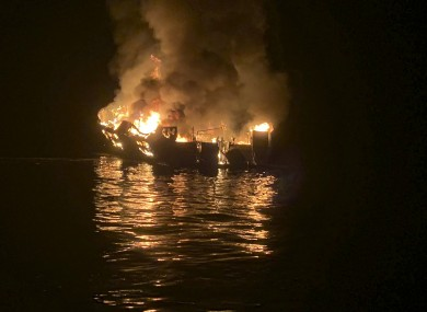 Santa Barbara County Fire Department a dive boat is engulfed in flames after a deadly fire broke out aboard the commercial scuba diving vessel.