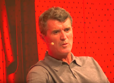 Roy Keane on stage at the Bord Gáis theatre with Off The Ball last Wednesday night.