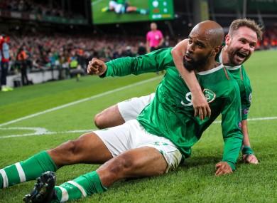 David McGoldrick celebrates his goal.