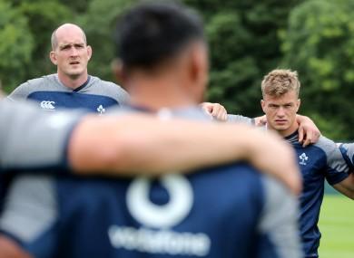 Devin Toner and Josh van der Flier during Ireland training.