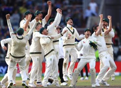 Australia celebrate after their win against England in the fourth Test.