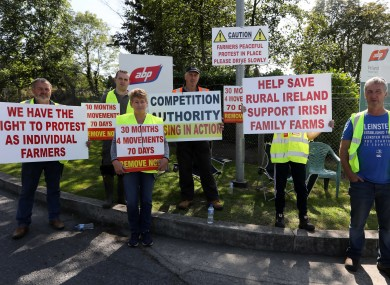 Protesters pictured outside the ABP factory in Waterford last month.