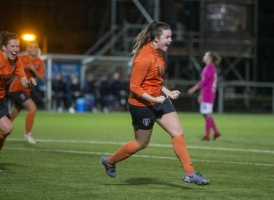 Clare Shine celebrates scoring last night.