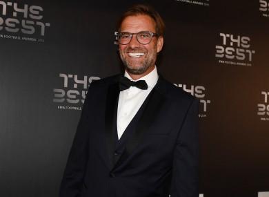 Jurgen Klopp pictured at last night's Best Fifa Football Awards.