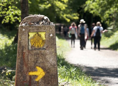 The yellow scallop shell signs the way to Santiago de Compostela on the St James pilgrimage route.