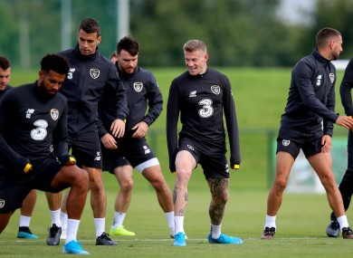 The Irish team pictured training during the week.