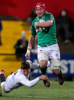 Hodnett makes a break in the Six Nations win over England in Cork.