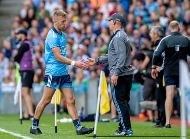 Jonny Cooper with Jim Gavin after being shown a red card.