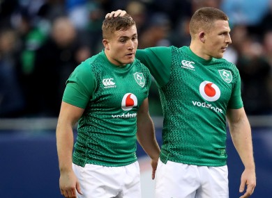 Jordan Larmour and Andrew Conway after Ireland's win over USA at Soldier Field last year.