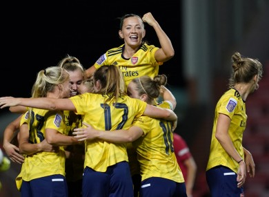 Katie McCabe with her Arsenal team-mates.
