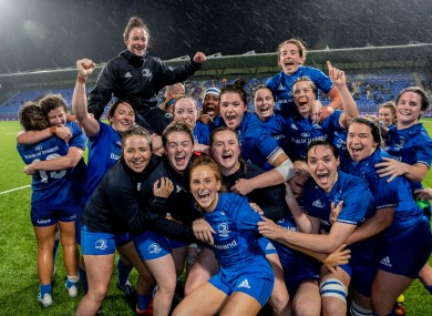 Leinster players celebrate their win at Energia Park.