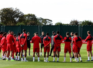A general view during a training session at Melwood Training Ground, Liverpool.