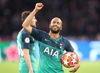 Tottenham's Lucas Moura celebrates at the end of last year's Champions League semi-final.