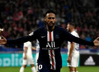 PSG's Neymar celebrates scoring.