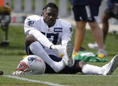 Brown pictured during a training session with the Patriots.