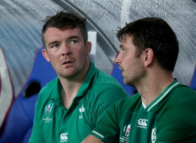 O'Mahony on the bench after being forced off in the first half.