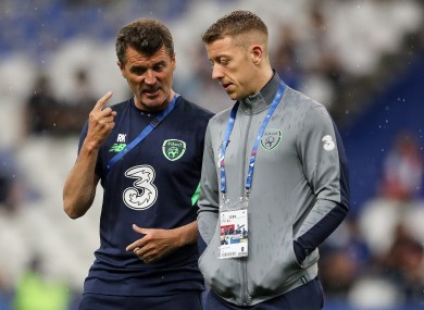 Roy Keane and Shane Supple at the Stade de France.