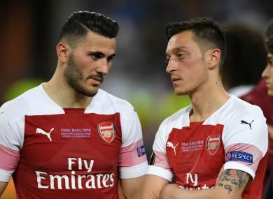 Arsenal team-mates Sead Kolasinac and Mesut Ozil.