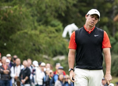 Rory McIlroy of Northern Ireland reacts after a putt during the final round.