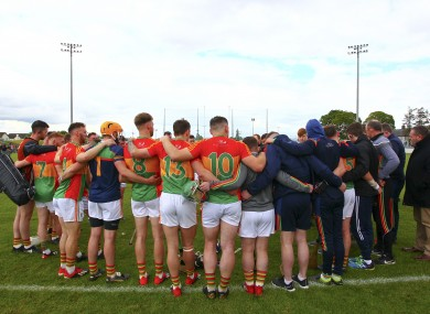 The Carlow team after their game against Kilkenny in the Leinster SHC back in May.