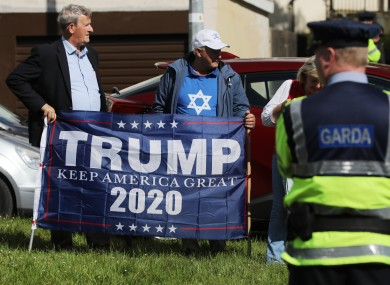 Trump supporters at the Stop Trump Peace Camp near Shannon Airport during the visit of President of the United States Donald Trump and the First Lady Melania to Ireland in June.