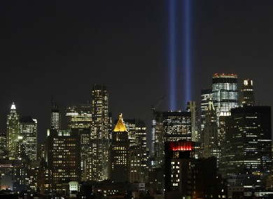 The Twin Towers Tribute In Light art installation ahead of today's anniversary.