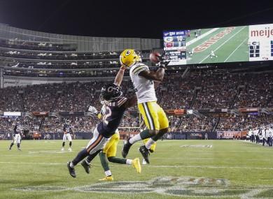 Ex-Bear Adrian Amos intercepts a touchdown pass.