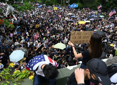 Protesters in Hong Kong on 8 September.