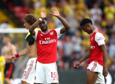 Arsenal's Ainsley Maitland-Niles reacts after the final whistle.