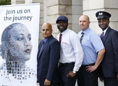 Pictured at the launch of the national transport anti-racism campaign: (LtoR) Shahbaz Rana, Dublin Bus, Martin Acheampong, Luas, Tomasz Kawako, Irish Rail and Richard Adewuyi, Bus Eireann.