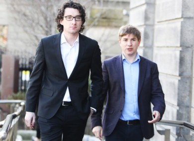 Journalists Ian Kehoe and Tom Lyons at the High Court last year attending a court case involving Denis O'Brien.