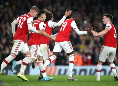 Pepe celebrates scoring for Arsenal on Thursday.
