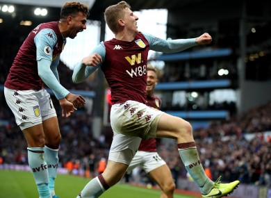 Aston Villa's Matt Targett celebrates scoring his side's second goal.
