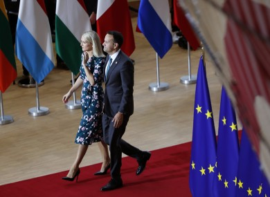 Taoiseach Leo Varadkar arrives at the EU Summit with Minister of State for European Affairs Helen McEntee.