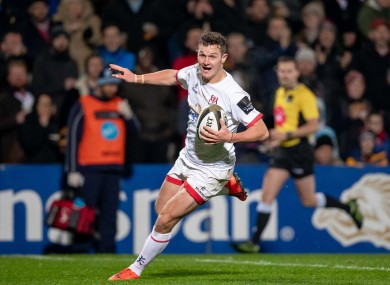 Billy Burns runs in a try for Ulster.