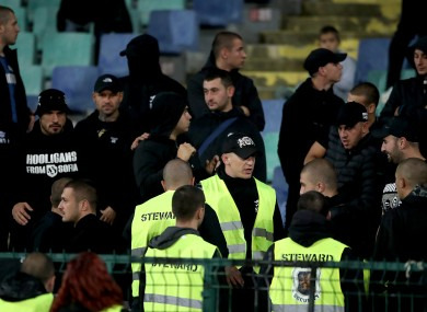 Stewards amongst Bulgaria fans in the stands during Monday's qualifier.