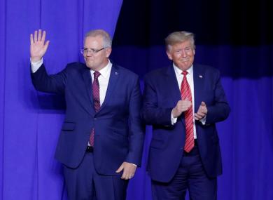 Australian PM Scott Morrison with Donald Trump.