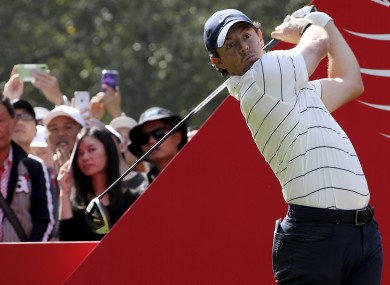 Rory McIlroy teeing off at the Sheshan International Golf Club.