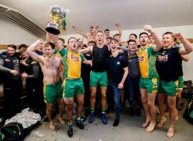 Corofin celebrate their Connacht final victory over Ballintubber last year.