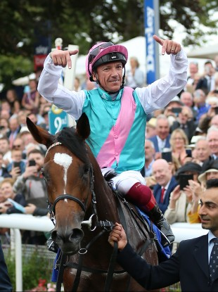 Dettori and Enable after winning the Yorkshire Oaks this year.