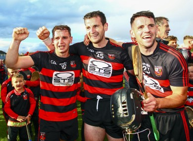 Dessie, Wayne and JJ Hutchinson celebrate Ballygunner's Munster title win.