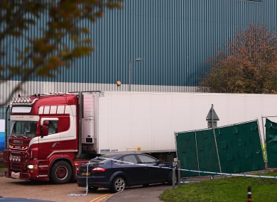 The container lorry where 39 people were found dead at Waterglade Industrial Park in Grays, Essex