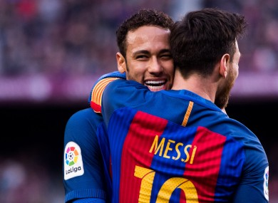 Neymar and Messi formed a fruitful partnership when playing together at Barcelona.