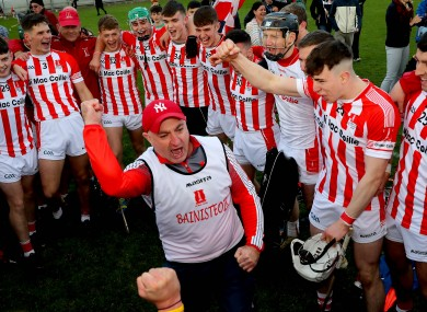 Imokilly boss Fergal Condon celebrates with his players.