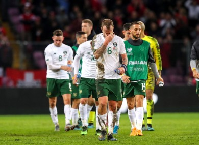Ireland's Glenn Whelan dejected after the game.